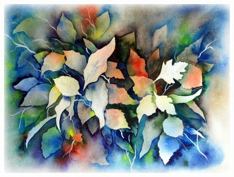 Negative Space Watercolor Leaves Floral Watercolor Watercolor