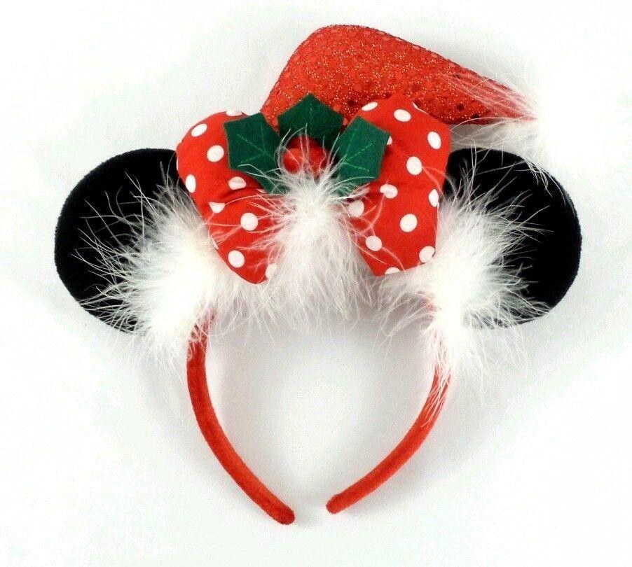 18b81d06fcc Disney Parks Minnie Mouse Ears Headband - Santa Hat Bow Christmas Red Sequin   Disney