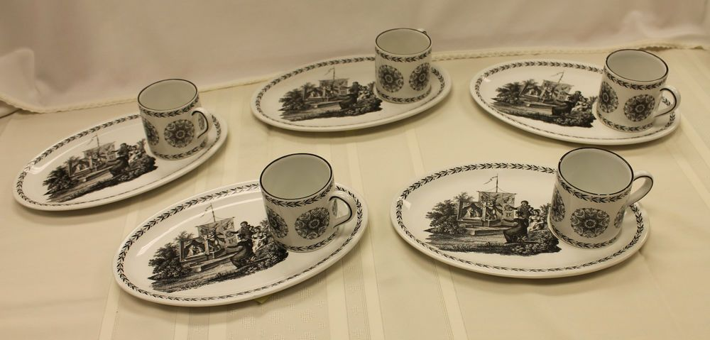 Mottahedeh Italy 5 Snack Plate & Cup Sets Coffee Tea S5122 Creil Laurel #3 White #Mottahedeh