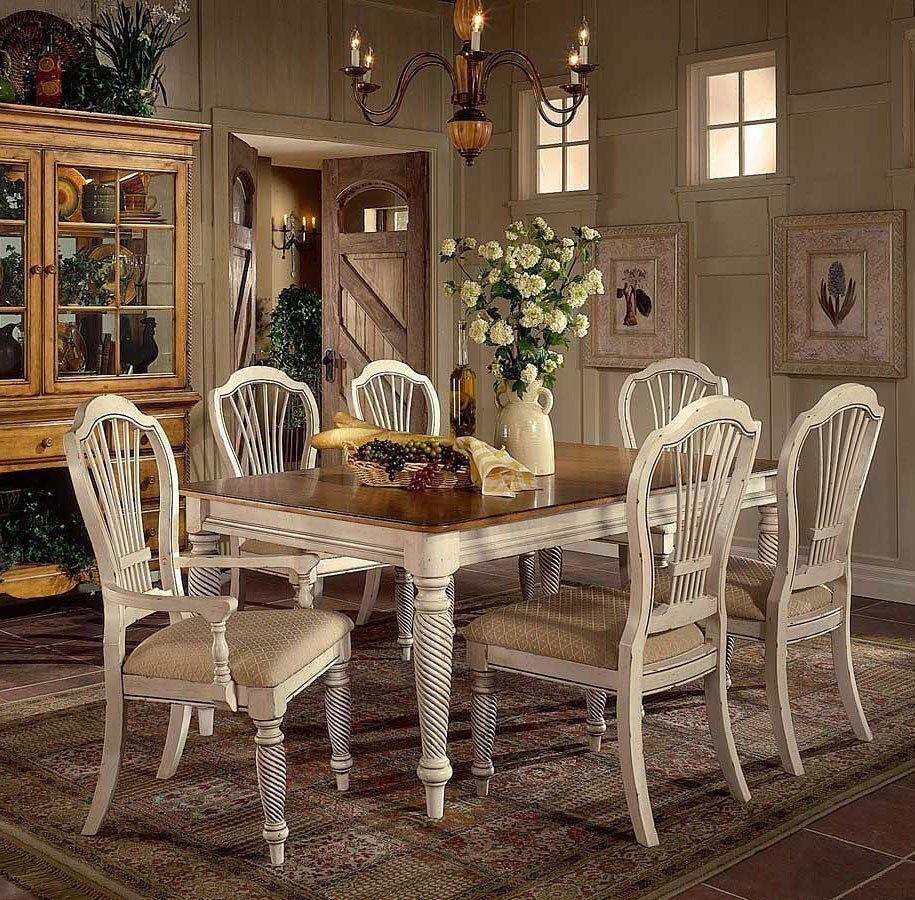 Wilshire Rectangular Dining Room Set Rectangle Dining Table White Dining Set Vintage Dining Room