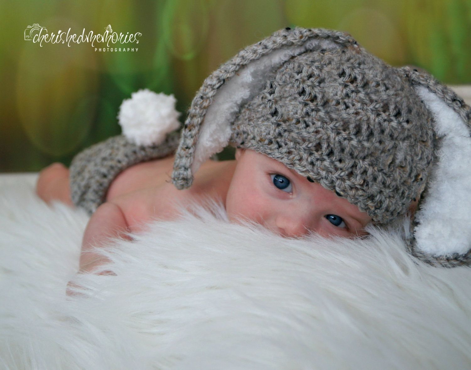 Crochet Baby Hat Easter grey baby Bunny Rabbit Ears by LocustTree ...