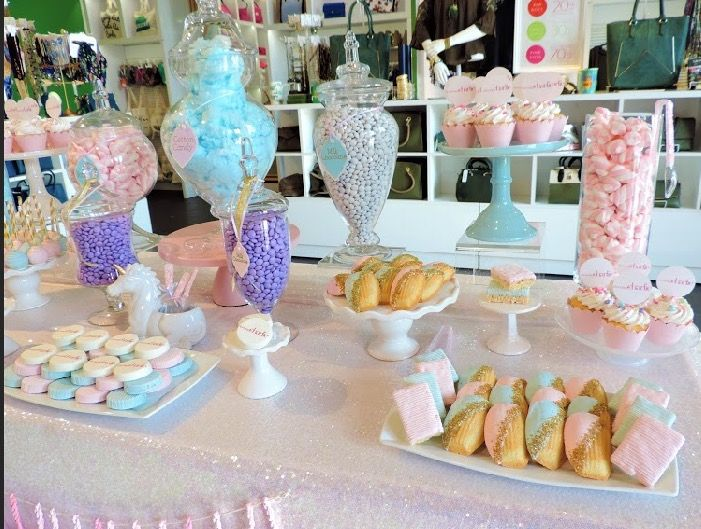 Unicorn candy table, unicorn party ideas, unicorn decorations