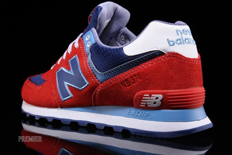 new balance 574 white blue red striped