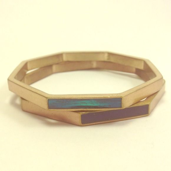 NWOT Kenneth Cole New York Enameled Bangle Two octagonal bangles with a splash of blue from enamel on opposite sides of each. A pretty addition to jeans and a tee. Semi-matte gold-tone bracelets. Kenneth Cole Jewelry