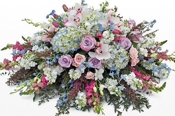 Elegant Pink Purple And Blue Casket Spray Funeral Flower Arrangements Funeral Flowers Casket Flowers