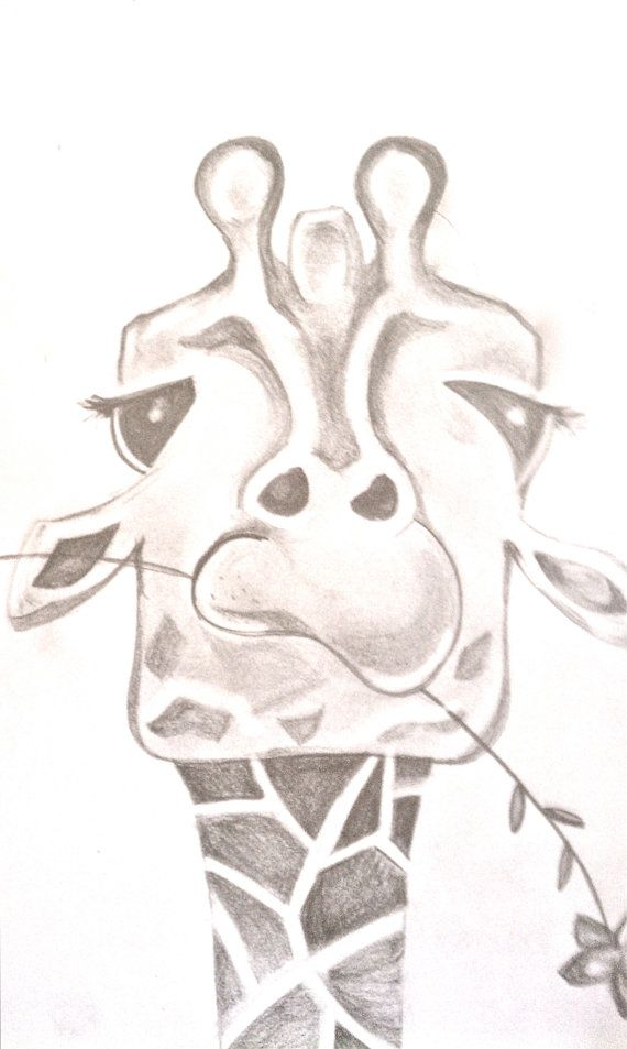 Funny Giraffe Drawing By Bunnytheduck On Etsy Animal Sketch