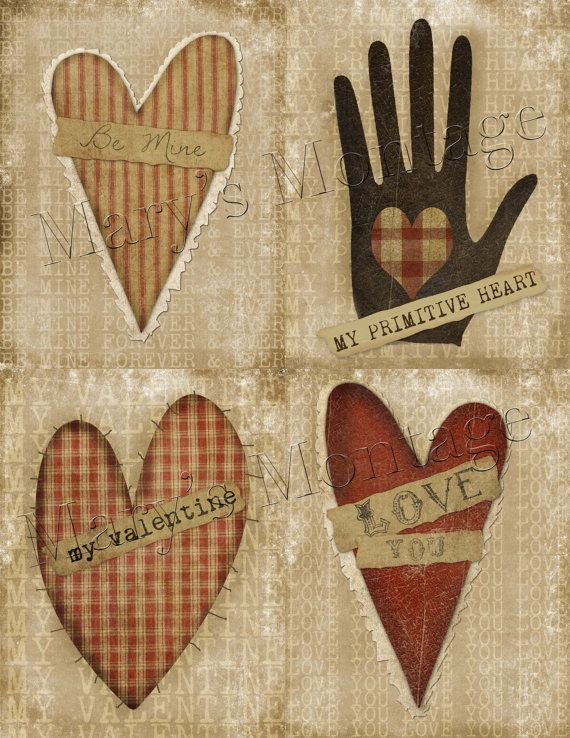 Primitive Grungy Valentine Hold the Key to my Heart Picture Print 8x10