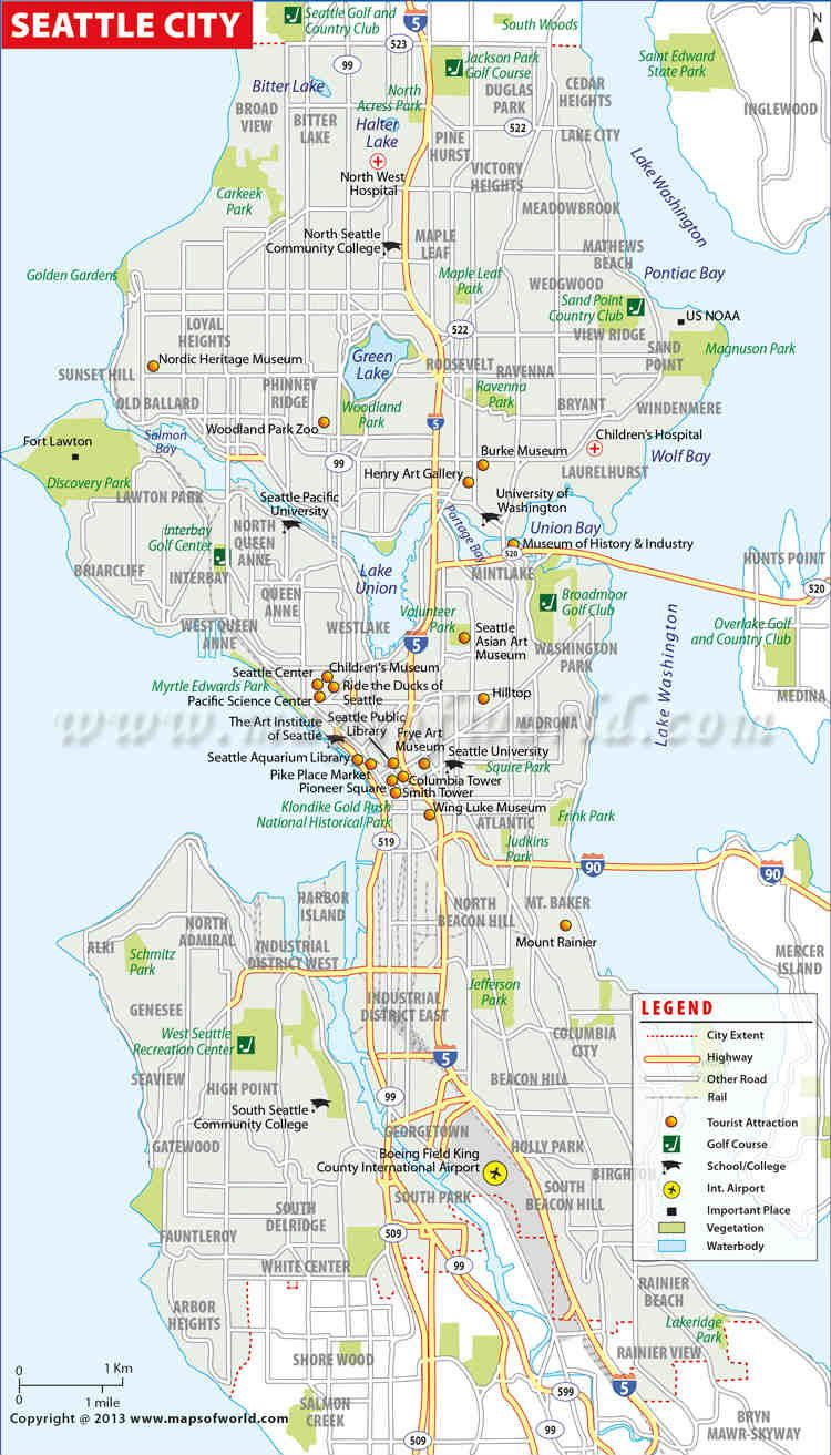 photograph about Printable Map of Seattle named Seattle Town Map #worldmapstore Seattle metropolis, Washington