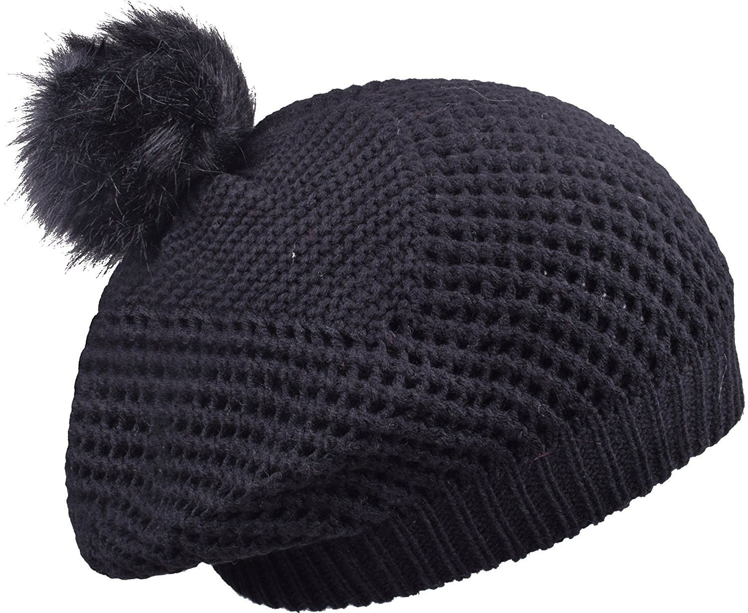cbb75df1d7f Warm Cable Knit Beanie Hat With Pom Pom Stylish Winter Hats For Women Skull  Cap - Black - CK1884LEWOZ - Hats   Caps
