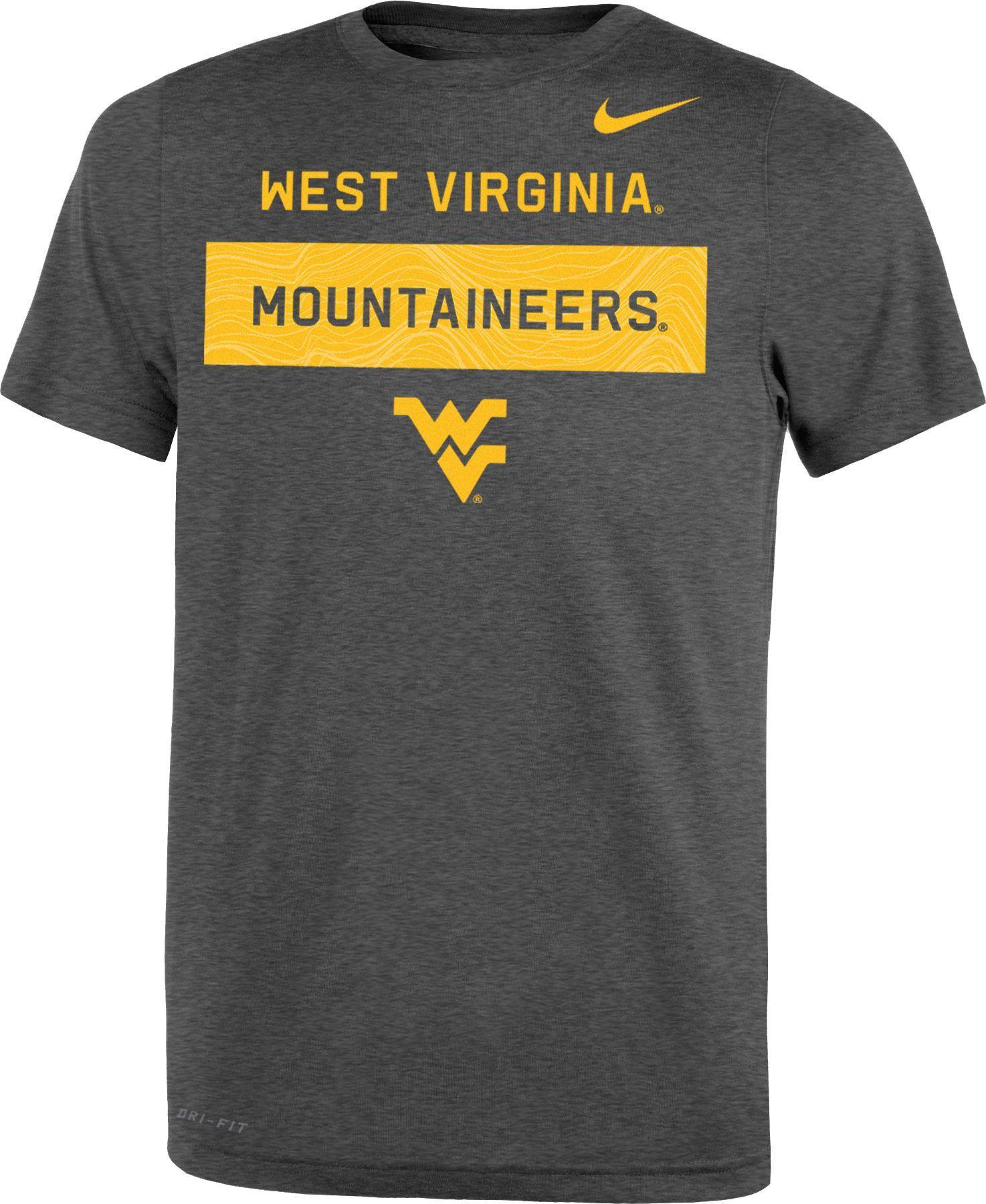 5c9e8c24e6f1 Nike Youth West Virginia Mountaineers Grey Dri-FIT Legend Lift Football T- Shirt
