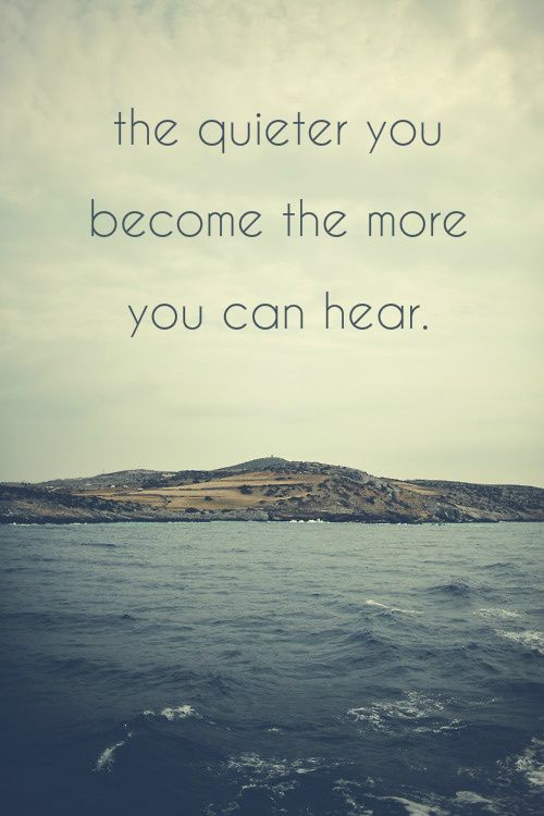 the quieter you become the more you can hear.