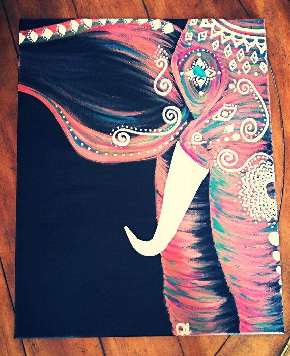 Fuschia/Magenta Bohemian Elephant by GypsyTwistArt on Etsy