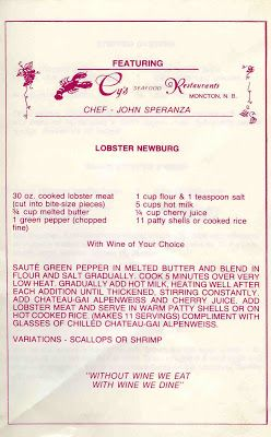 Recipe book from Moncton's former Cy's Seafood Restaurant