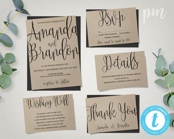 Wedding Invitation Template Suite Calligraphy Script Instant Etsy Wedding Invitation Templates Wedding Invitations Printable Templates Wedding Invitations Diy