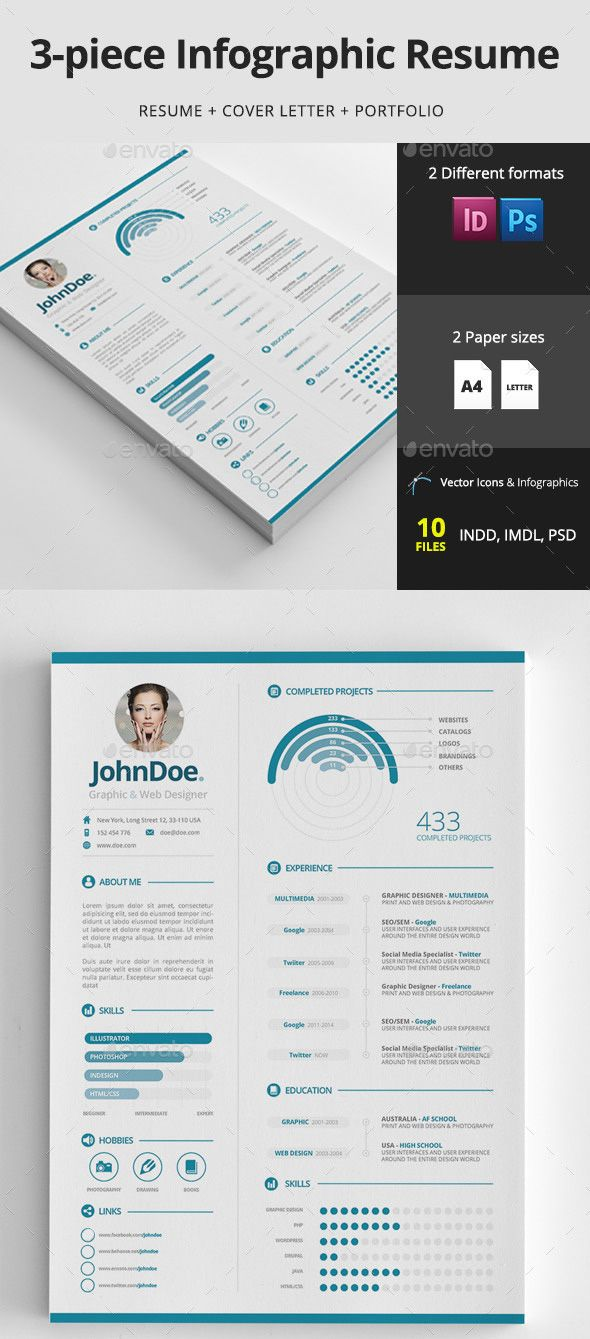 Infographic resume design template | Resume Design | Pinterest ...