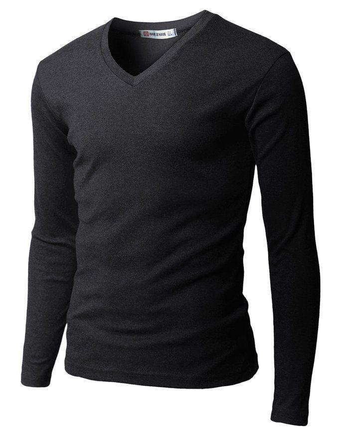 H2H Men's basic v-neck long sleeve T-shirt #vnecks #tee #