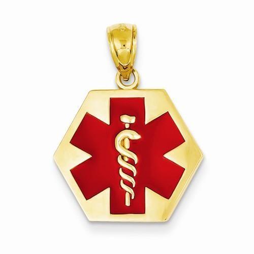 NEW-14K-YELLOW-GOLD-RED-ENAMEL-MEDICAL-70-X-94-MEDIC-ALERT-PENDANT-CHARM