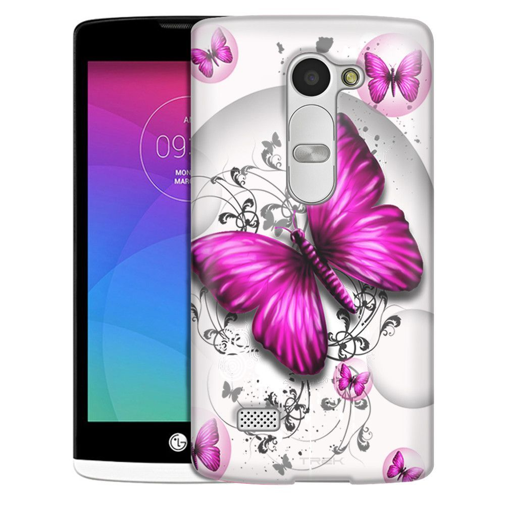 LG Leon Highlighted Butterfly Pink on White Slim Case