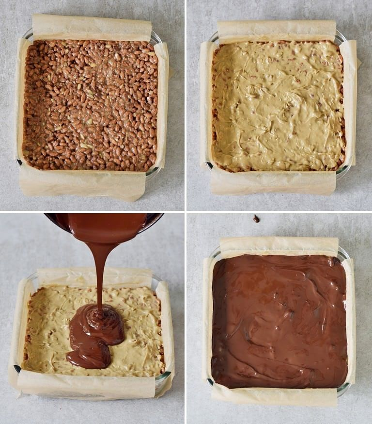 Crispy Chocolate Peanut Butter Crunch Bars With Only 5 Ingredients