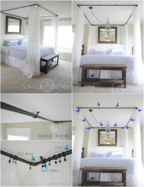 PVC Pipe Curtains; could cover top with a piece of fabric to be a real & These 23 DIY Bed Canopies Will Ensure That You Sleep Like A ...