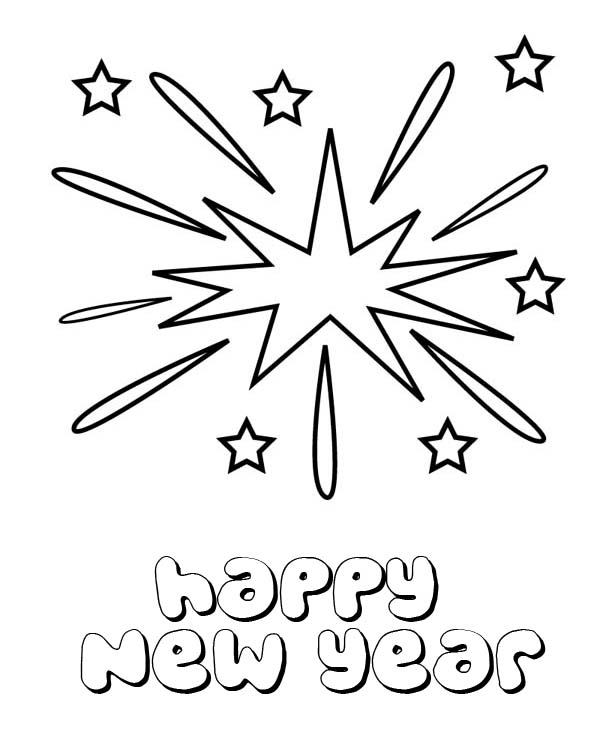 Lovely Firework On New Years Eve On 2015 New Year Coloring Page Coloring Sky In 2020 New Year Coloring Pages Coloring Pages Free Printable Coloring Pages