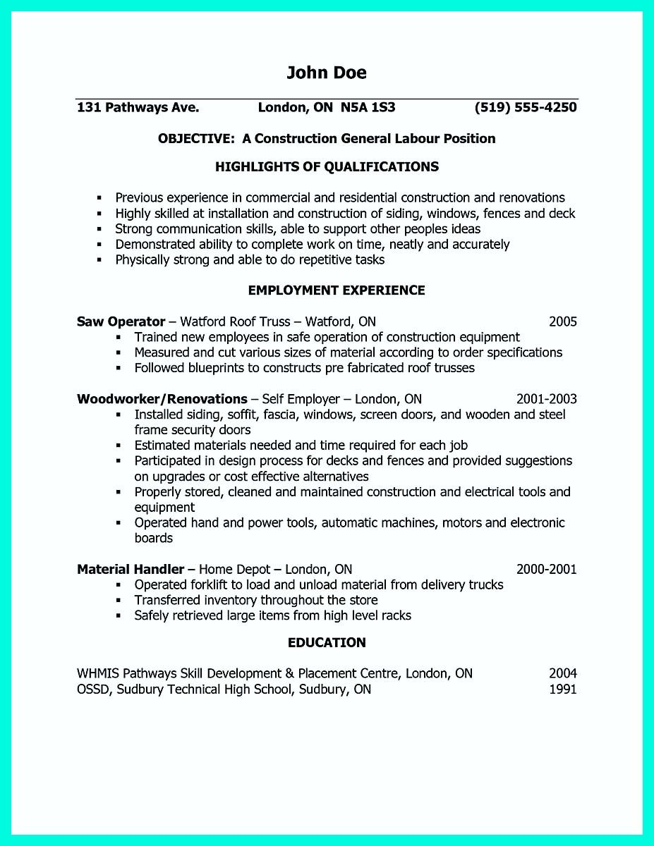 Awesome Construction Worker Resume Example To Get You Noticed