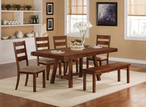 3F7102931PG Milly Rustic Oak Finish Dining Table + 4 Chairs + 1
