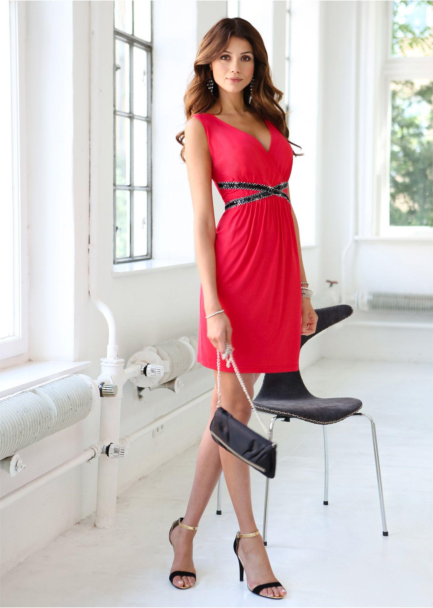 Kleid aus Jersey in Wickeloptik schwarz - BODYFLIRT jetzt im Online ...