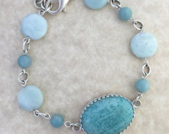 Turquoise Amazonite Cabochon Bracelet with Amazonite Beads and Silver