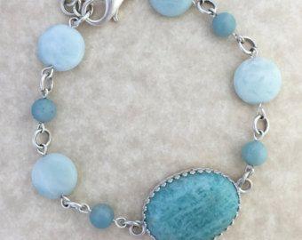 Turquoise Amazonite Cabochon Bracelet with Amazonite Beads and Silver