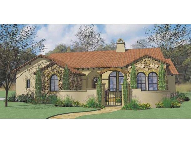 Single story spanish style homes encompassing influences for Spanish style home plans with courtyard