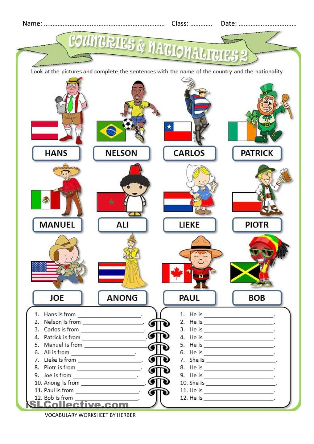 COUNTRIES AND NATIONALITIES 2 WS | Worksheets | Pinterest | Englisch ...