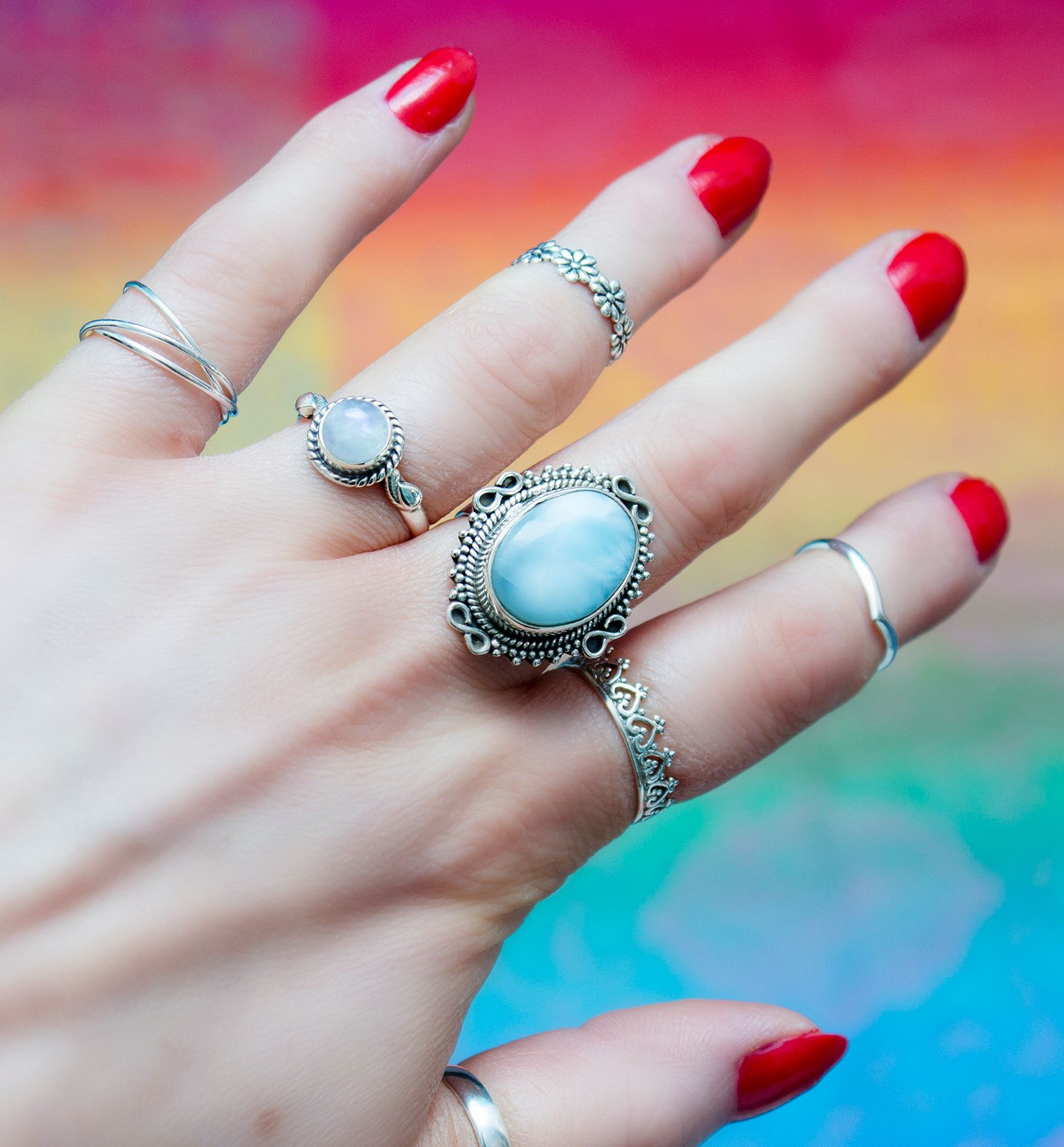 Colours of the World from www.boholake.co.uk // Boho Lake // Larimar // hippie // jewelry // sterling silver // bohemian jewellery // gypsy jewels // boho chic // midi ring // rainbow moonstone