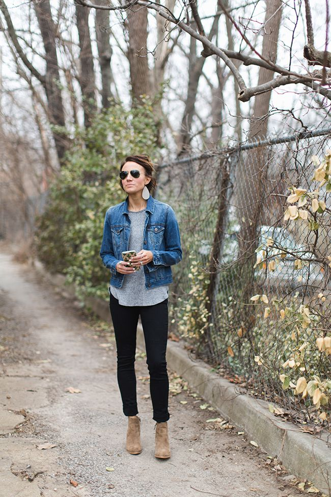 Casual Basics Including Ankle Boots Black Pants Denim Jacket Gray Tee Jean Jacket Styles Jean Jacket Outfits Jacket Outfits