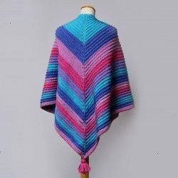 Shawl with Ridge Pattern from Hobbii Knitted Shawl with Ridge Pattern from Hobbii Knitted Shawl with Ridge Pattern from Hobbii  Colors of the Rainbow Strik en stribet rag...