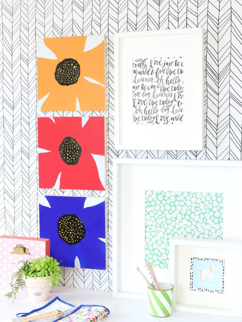 Easy abstract floral wall art with kid made modern craft it diy