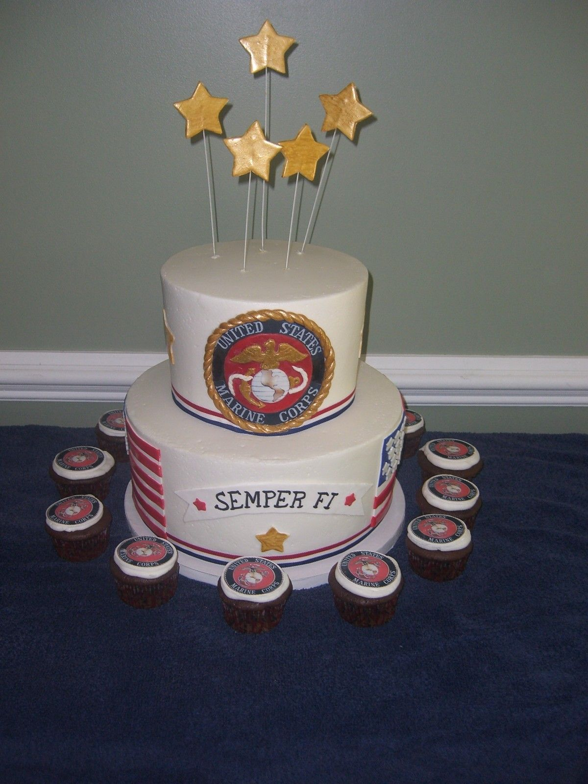 Military Marine Cake Top layer is vanilla, Bottom is