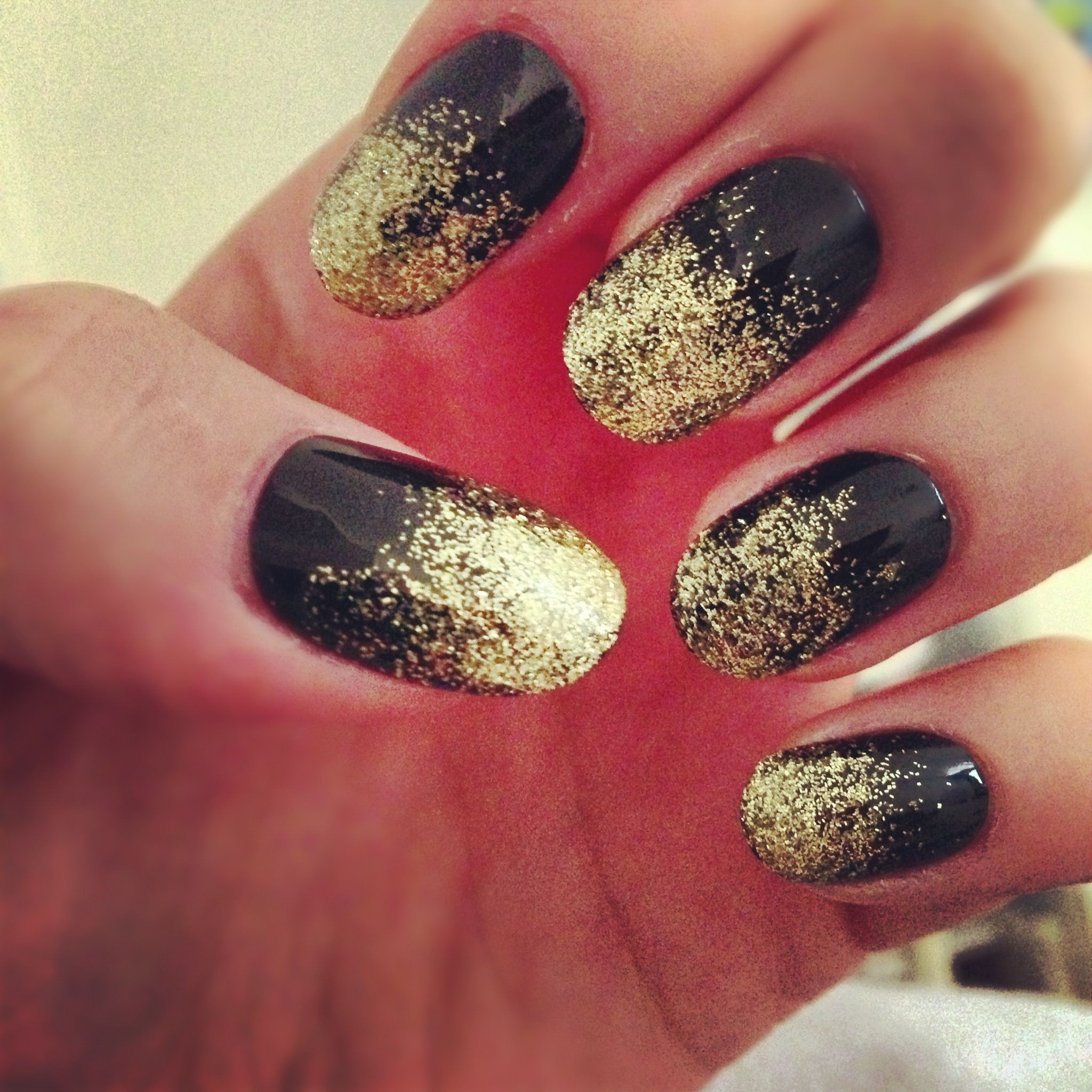 Nails On Ombre Art Nail Black Gold Glitter DIY Fade