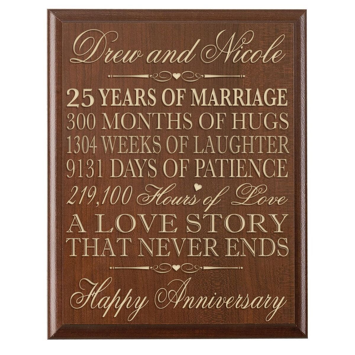 25th-wedding anniversary wall plaque gifts for couple | 25th