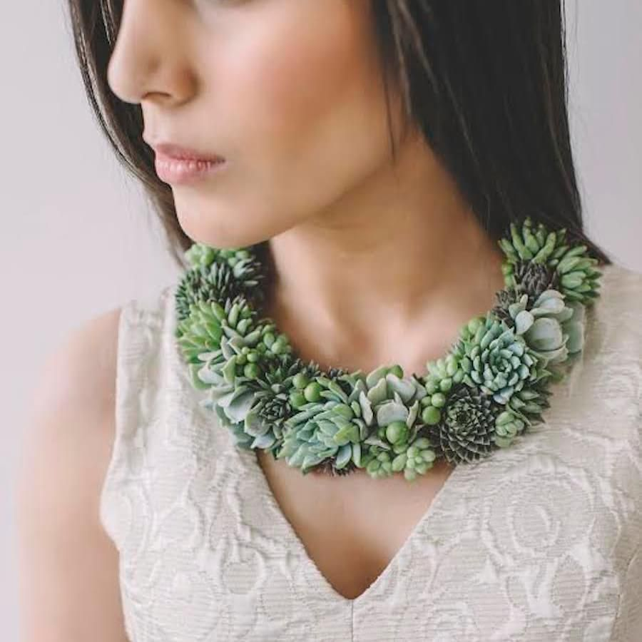 Check Out These Insanely Cool Wearable Plants Succulent Jewelry Accessories Diy Jewelry Wearable Plant