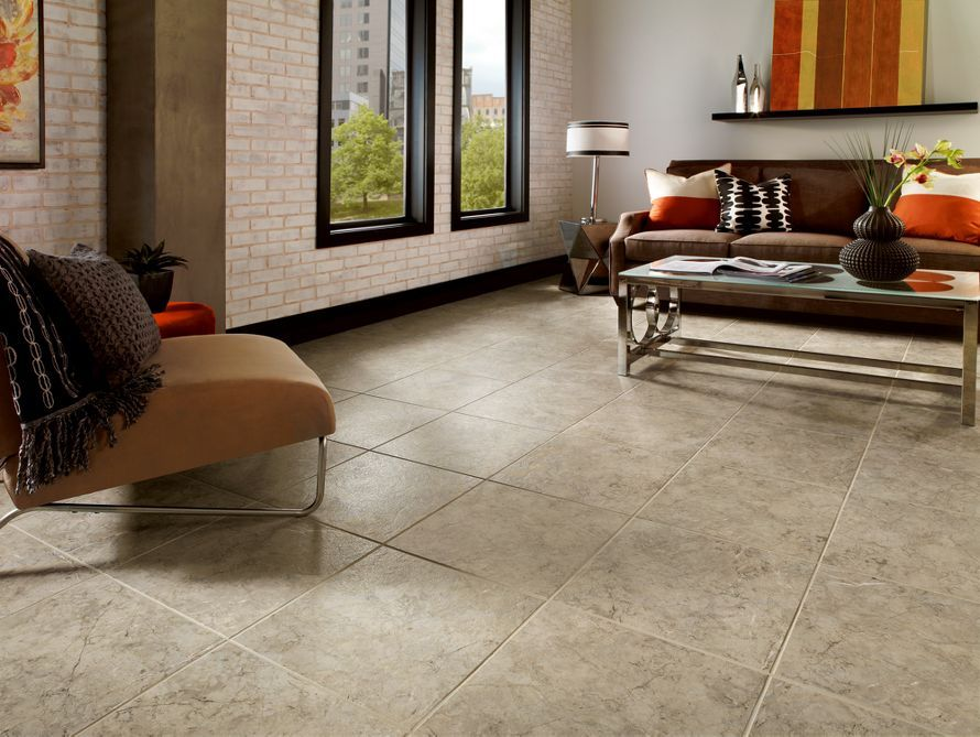 armstrong luxury vinyl tile lvt taupegray stone look living room inspiration