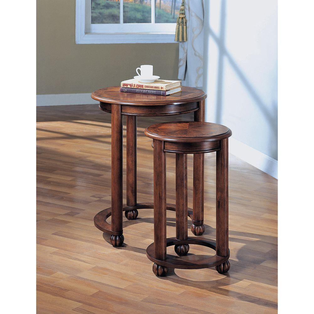 Wonderful Medium Cherry Burl Inlay Nesting Tables (Set Of 2) | Overstock.com Shopping