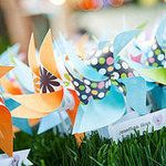 Pinwheels as table assignment cards.