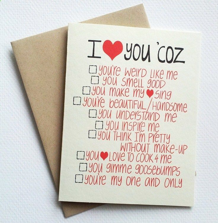I love you card with funny list romantic valentines day for Nice things to do for valentines day