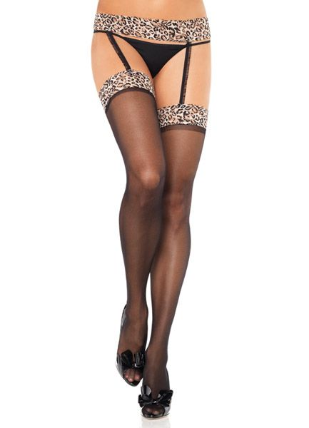 Leg Avenue 1053 - Sheer Black Thigh Highs with Leopard Print Tops & Attached Lace Garter Belt