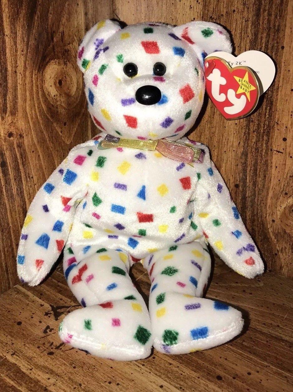 RARE  Ty 2K  Bear Beanie Baby with Flat Tush Tag   multiple errors ... 9454ac7757d