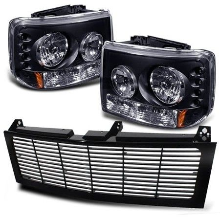99 02 Chevy Silverado 1500 2500 01 3500 1 Piece With Per Lights Require Gri Sp Cs99 Ct Grille Led Headlights Pair Black