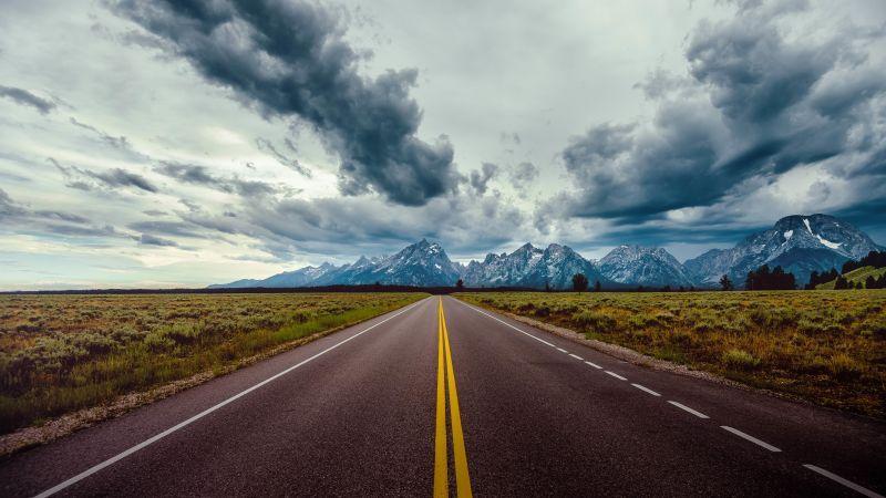 road, sky, clouds, mountains, 8k (horizontal