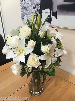 Large Artificial Flower Arrangement Ivory Rose Lily Hop Spray Bouquet In