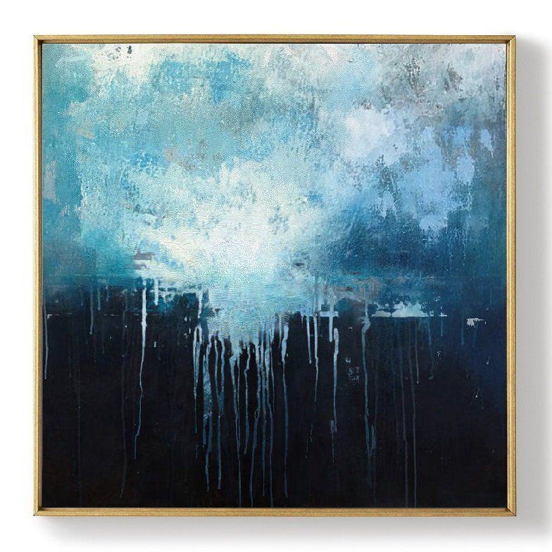 Large Blue Abstract Art Sky Landscape Oil Paintingblack Etsy Blue Abstract Art Oil Painting Abstract Abstract Canvas Painting